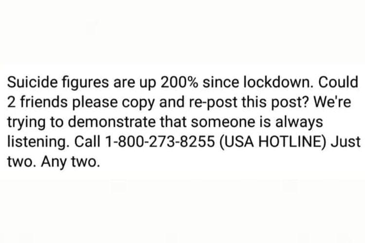 Status Facebook tidak berdasar soal lonjakan kasus bunuh diri sejak lockdown di AS.