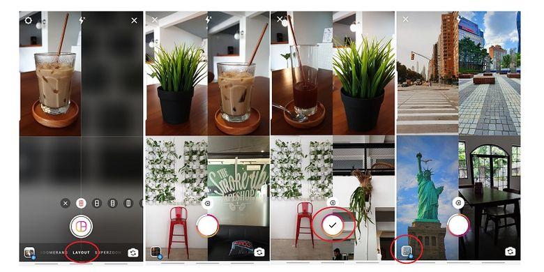 Cara bikin kolase foto menggunakan fitur Layout Instagram Story.