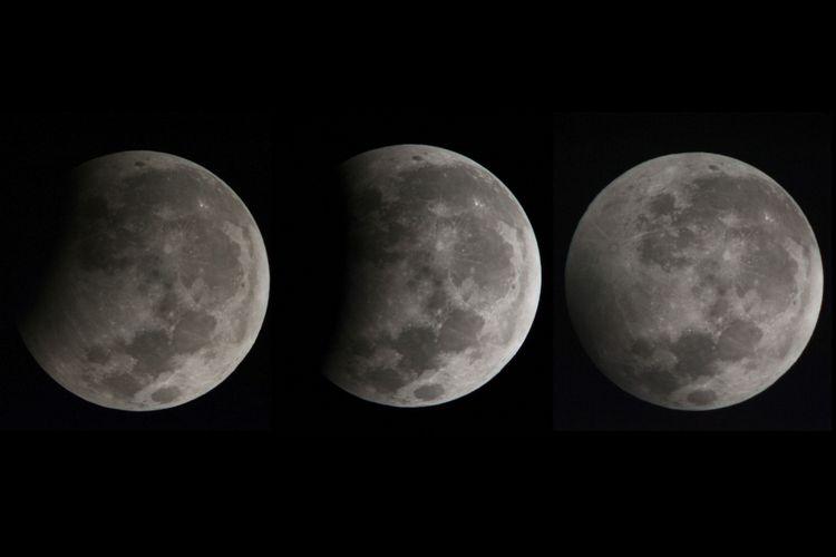 Foto kolase fase gerhana bulan sebagian yaitu awal gerhana (kiri), puncak gerhana (tengah) dan akhir gerhana (kanan) yang terpantau dari Kota Gianyar, Bali, Selasa (8/8/2017). Gerhana bulan yang berlangsung sekitar 1 jam 55 menit tersebut dapat dilihat dari seluruh kepulauan di Indonesia.