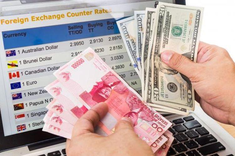 Ilustrasi rupiah dan dollar AS