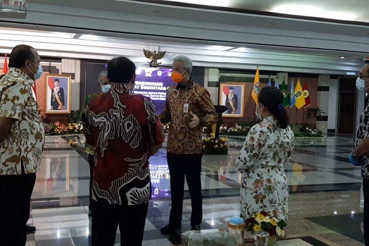 Gubernur Jawa Tengah Ganjar Pranowo usai pengukuhan enam pejabat sementara di Gedung Gradhika Semarang, Jumat (25/9/2020).