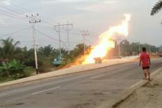 Pipa Gas Chevron di Bengkalis Riau Bocor hingga Semburkan Api