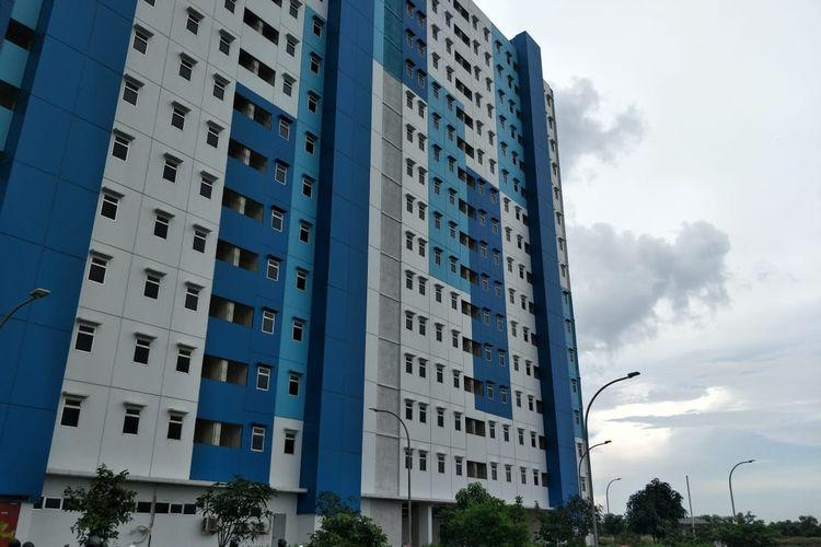 Rusun Nagrak, Marunda, Cilincing, Jakarta Utara yang direncanakan menjadi tempat isolasi pasien Covid-19 diabadikan pada Kamis (17/6/2021).