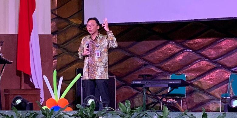 Kepala Badan Tenaga Nuklir Nasional (Batan), Anhar Riza Antariksawan saat menyampaikan program Batan pada kurun waktu 2020-2024 di acara internalisasi Rencana Strategis (Renstra) Batan kepada seluruh pegawai di Gedung Graha Widya Bhakti, Kawasan Puspiptek, Tangerang Selatan, Selasa (10/12/2019).