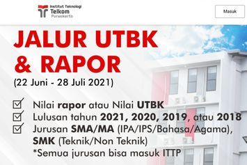 Institut Teknologi Telkom Buka Pendaftaran S1 Jalur Rapor-UTBK Tanpa Tes