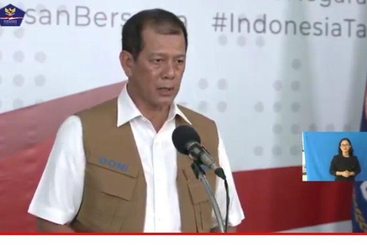 Ketua Satgas Covid-19 Letjen Doni Monoardo dalam konferensi pers bersama Kemenparekraf Wishnutama di Jakarta, Sabtu (28/3/2020).