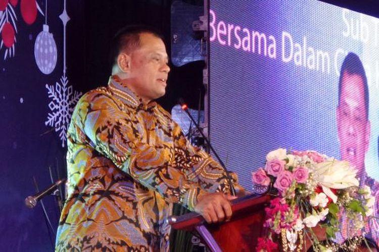 Panglima TNI Jenderal TNI Gatot Nurmantyo dalam acara peringatan Natal dan Tahun Baru 2017 MPR-DPR-DPD di Kompleks Parlemen, Senayan, Jakarta, Jumat (27/1/2017)