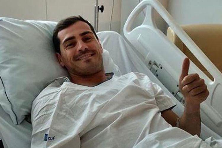 Kiper FC Porto, Iker Casillas usai menjalani operasi mengalami serangan jantung ketika sedang berlatih pada Rabu (1/5/2019).