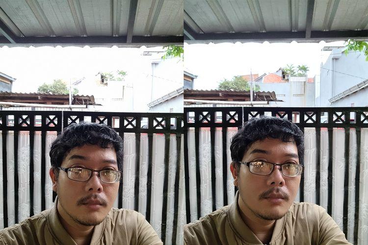 Selfie con resolución de 40 MP (izquierda) produce imágenes nítidas, mientras que el rango dinámico bajo pierde detalles en áreas brillantes (altas luces) en comparación con las tomas con resolución de 10 MP.