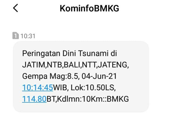 Tangkapan layar pesan singkat peringatan dini tsunami yang diterima Kompas.com, Kamis (27/5/2021)