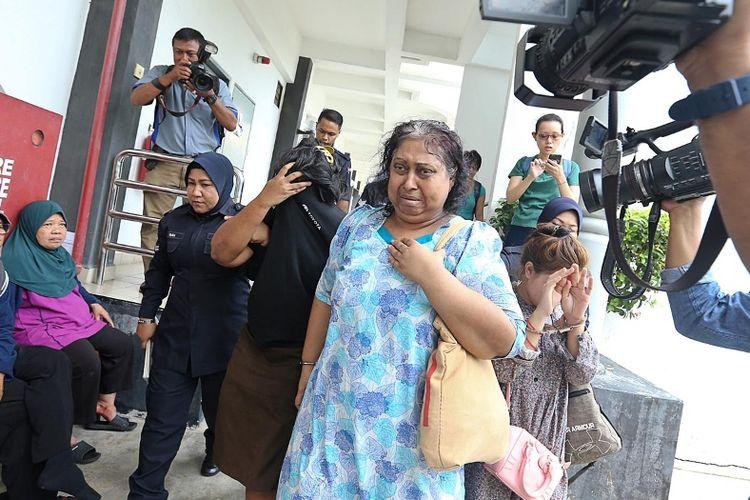S Ambika, majikan TKI Adelina Sau yang tewas 11 Februari, ketika menghadiri persidangan di Pengadilan Bukit Mertajam, Malaysia, Rabu (21/2/2018).