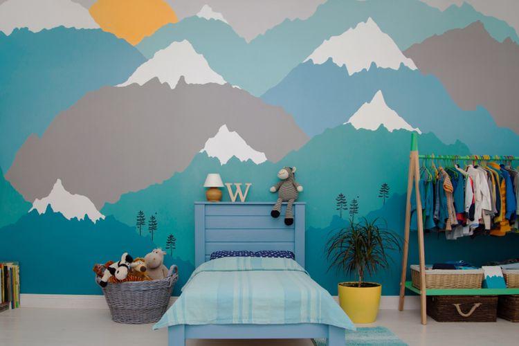 Ilustrasi mural pada dinding kamar anak.