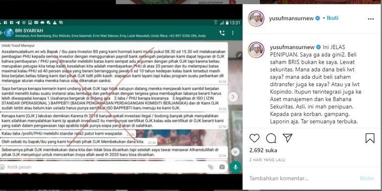 Tangkapan Layar Instagram Ustaz Yusuf Mansur