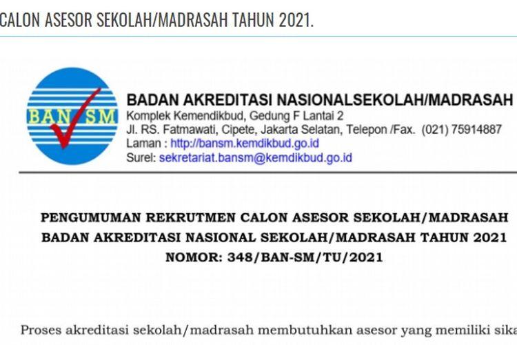 Tangkapan layar terkait lowongan kerja menjadi calon asesor sekolah dan madrasah di Kemendikbud.
