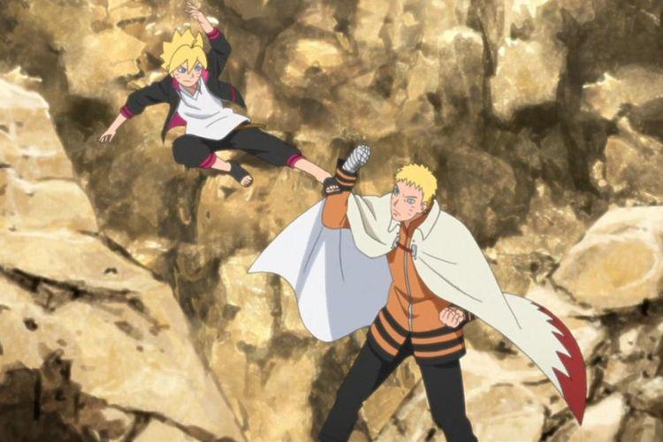 Boruto dan Uzumaki Naruto dalam cerita Boruto: Naruto Next Generations.
