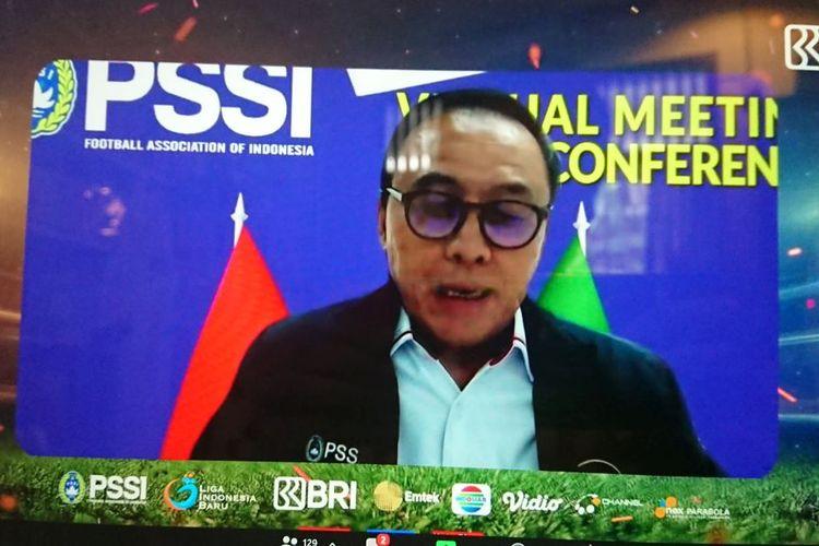 Ketua Umum PSSI Mochamad Iriawan memberikan sambutan pada acara peluncuran virtual kompetisi Liga 1 2021-2022 pada Kamis (12/8/2021) siang WIB.
