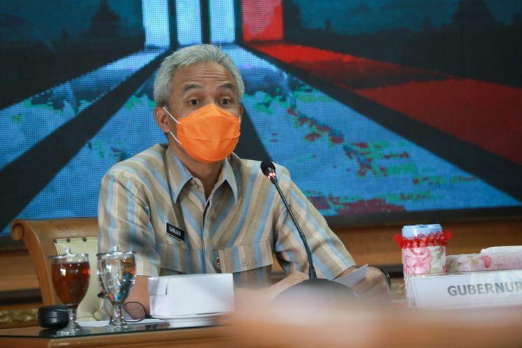 Ganjar menjelaskan angka penurunan kematian Covid-19 Provinsi Jawa Tengah usai menghadiri rapat koordinasi di Dinas Kesehatan Jateng, Selasa (15/9/2020).