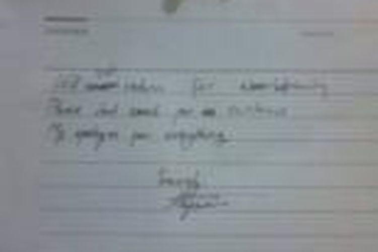 Surat Wasiat korban tenggelam di danau UI, Akseyna Ahad Dori (19), yang ditemukan di kos-kosannya,di Wisma Widya yang berlokasi di gang H. Usman, Kukusan, Depok.