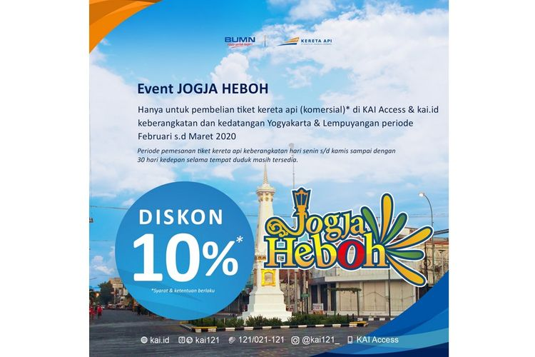 Potongan harga atau diskon tiket KA saat gelaran event Jogja Heboh 2020.