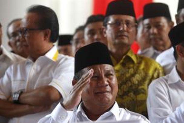 Ketua Umum Dewan Pembina Partai Gerakan Indonesia Raya (Gerindra) sekaligus bakal calon presiden Prabowo Subianto