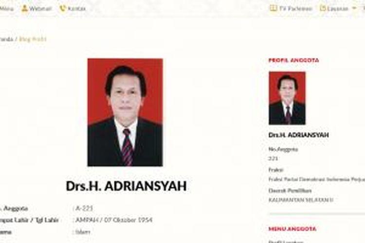 Halaman profil anggota Fraksi PDI-P DPR RI 2014-2019, Adriansyah, pada situs web www.dpr.go.id.