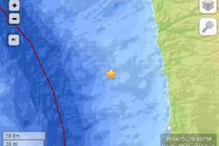 Pusat gempa Cile pada Rabu (2/4/2014) pukul 06.46 WIB.