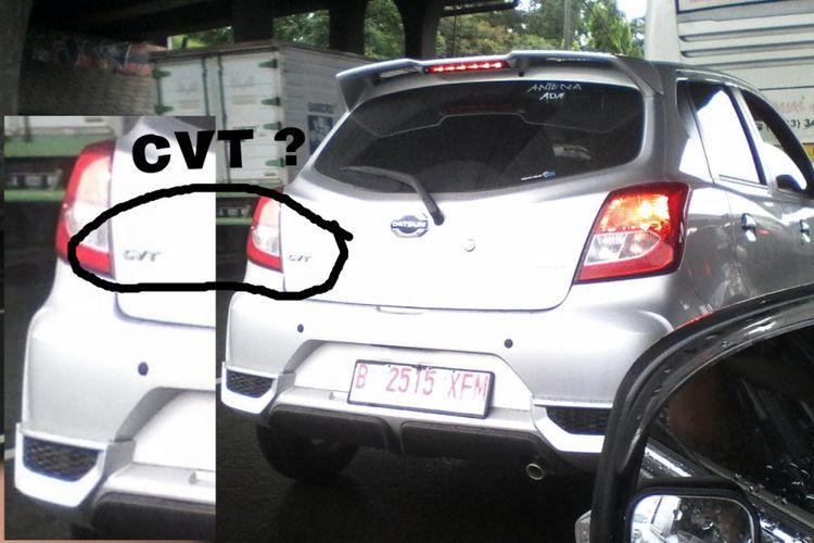Datsun Go dengan emblem CVT tertangkap tengah di uji coba di tol