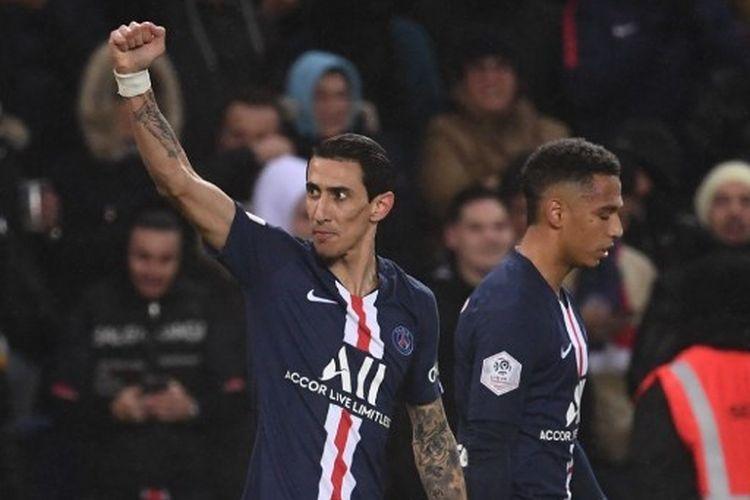 Angel Di Maria merayakan gol yang dia cetak pada laga pekan ke-24 Ligue 1 antara Paris Saint-Germain vs Lyon di Stadion Parc des Princes, Senin (10/2/2020) dini hari WIB.