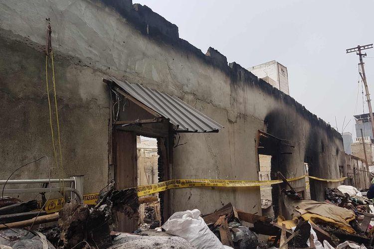 Kondisi rumah yang diduga jadi sumber api kebakaran di Kelurahan Keagungan, Taman Sari, pada Minggu (18/4/2021).