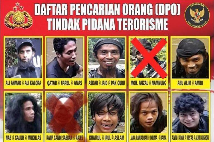 Daftar 11 anggota kelompok Mujahidin Indonesia Timur (MIT) pimpinan Ali Kalora yang menjadi buruan aparat gabungan.