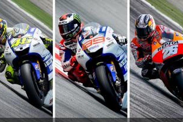 Beberapa pebalap MotoGP yang akan beraksi pada sesi uji coba di Sirkuit Sepang Malaysia, 26-28 Februari 2014, Valentino Rossi (kiri), Jorge Lorenzo (tengah), dan Dani Pedrosa.