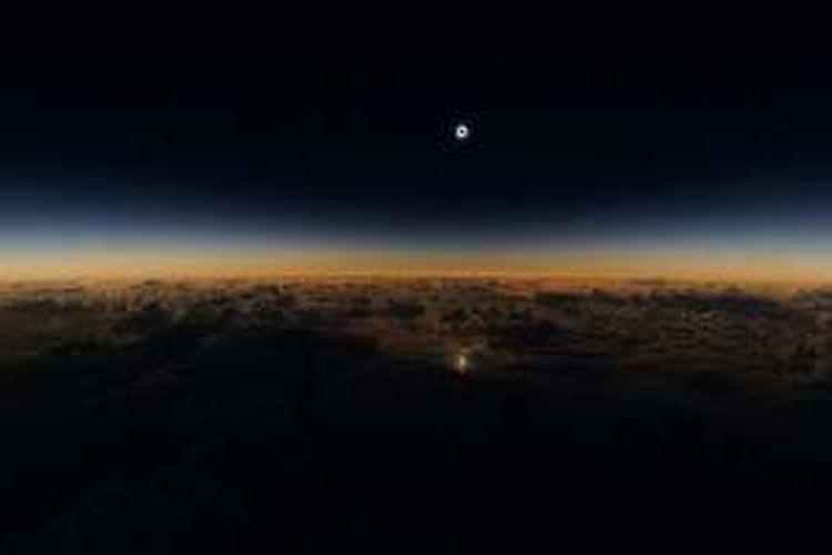 Gerhana matahari total dilihat dari pesawat Alaska Airlines.