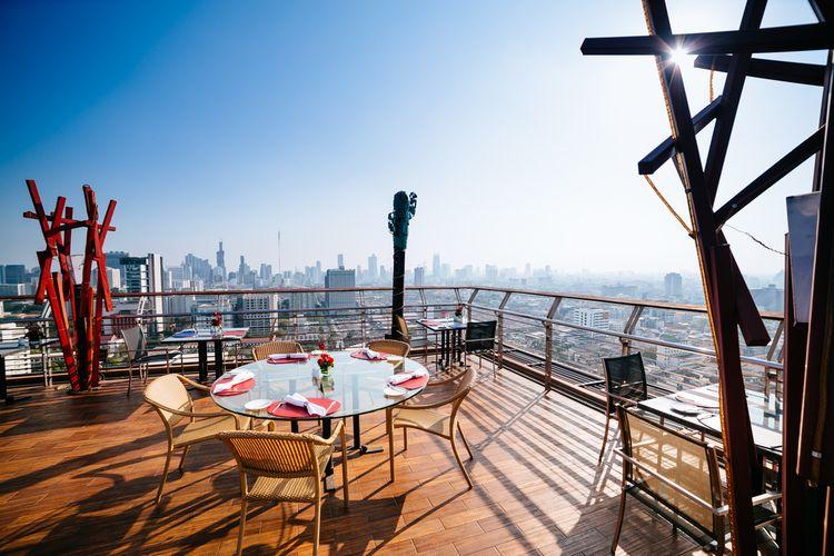 Ilustrasi kafe rooftop.