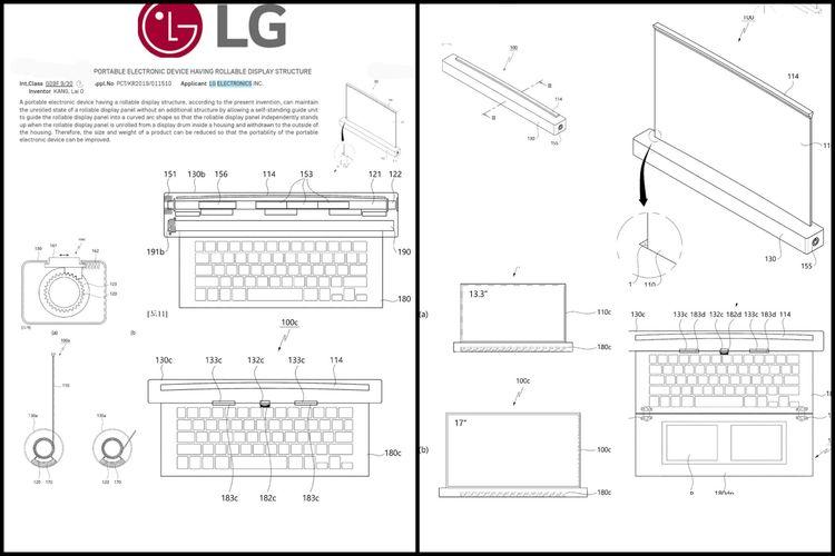 Ilustrasi paten laptop layar gulung LG.