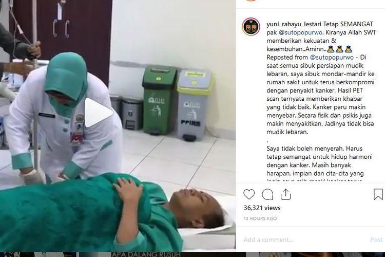 Kepala Pusat Data, Informasi, dan Hubungan Masyarakat Badan Nasional Penanggulangan Bencana (BNPB) Sutopo Purwo Nugroho kembali menjalani pengobatan dan pemeriksaan positron emission tomography (PET) scan pada Jumat (31/5/2019).