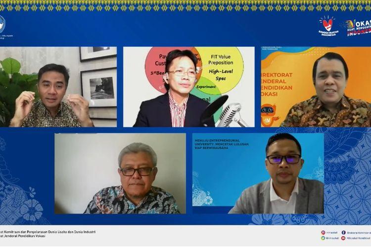 Webinar Menuju Entrepreneurial University, Mencetak Lulusan Siap Berwirausaha diselenggarakan Direktorat Mitras DUDI, Jumat (3/9/2021).