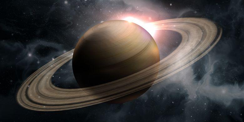 Ilustrasi cincin planet saturnus.
