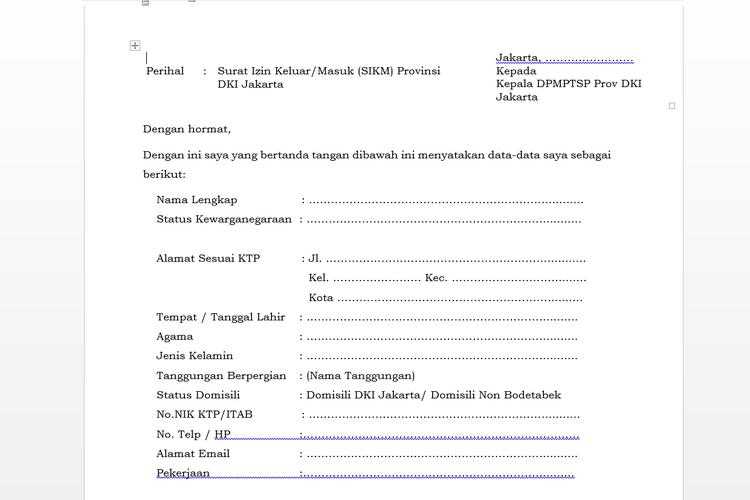 Tangakapan layar situs formulir yang harus diisi untuk mengurus SIKM, Jakarta, Kamis (28/5/2020).