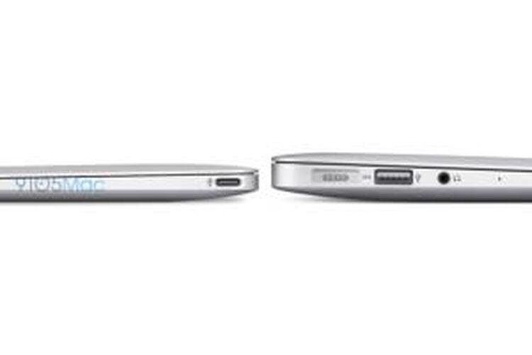 Ilustrasi perbandingan ketebalan dan jumlah konektor MacBook Air 12 inci (kiri) dengan MacBook Air 11 inci