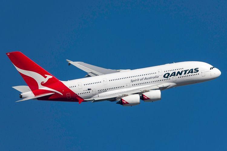 Ilustrasi pesawat - Pesawat Qantas A380.