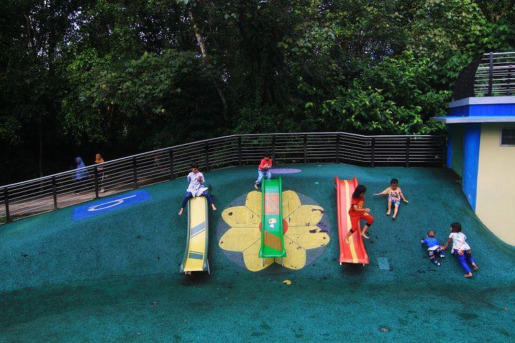 Sejumlah anak bermain di area Ruang Terbuka Hijau (RTH) Taman Digulis, di Pontianak, Kalimantan Barat, Selasa (7/7/2020). RTH Taman Digulis seluas tiga hektar tersebut menjadi sarana rekreasi bagi masyarakat Pontianak yang ingin bersantai ataupun berolahraga. ANTARA FOTO/Jessica Helena Wuysang/hp.