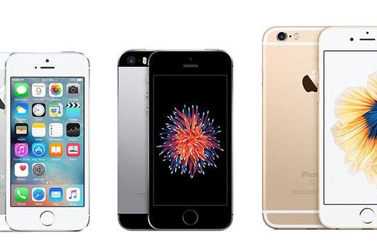 iPhone SE (tengah), diapit iPhone 5S (kiri) dan iPhone 6S. Gambar tidak sesuai skala