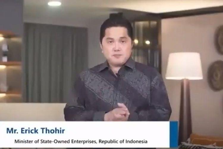 Menteri BUMN Erick Thohir saat menjadi pembicara kunci pada webinar FEB Untar.