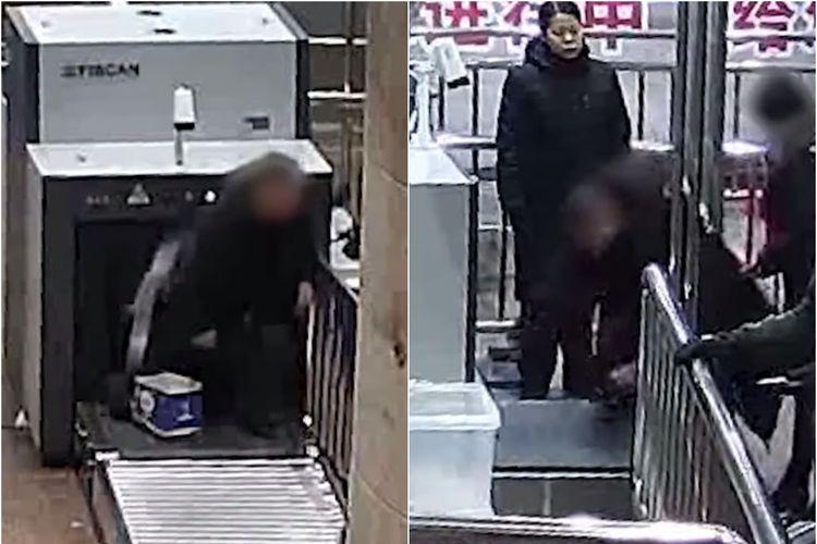 Malas Lepas Mantel, Pria di China Ini Masuk Mesin Pemindai Barang