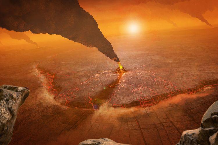 Konsep gunung berapi aktif di planet Venus yang digambarkan seorang seniman. Menggambarkan zona subduksi di mana kerak latar depan terjun ke interior planet di parit topografi. Penelitian baru mengungkap planet ini memiliki banyak struktur vulkanik aktif.