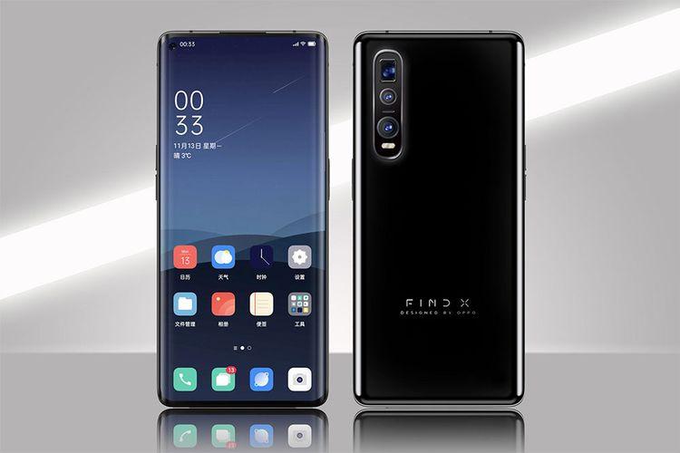 Render digital dari smartphone Oppo Find X2 yang rencananya akan dirilis Maret 2020.