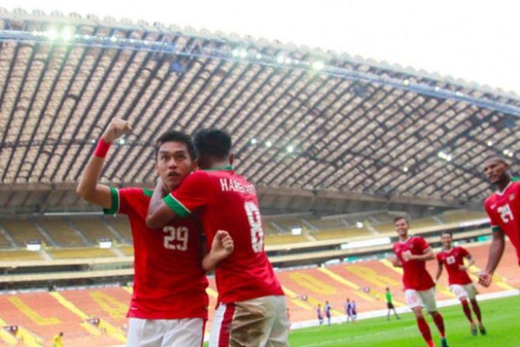 Septian David Maulana, pencetak gol ke gawang Thailand di SEA Games 2017 di Stadion Shah Alam, Kuala Lumpur, Selasa (15/8/2017).