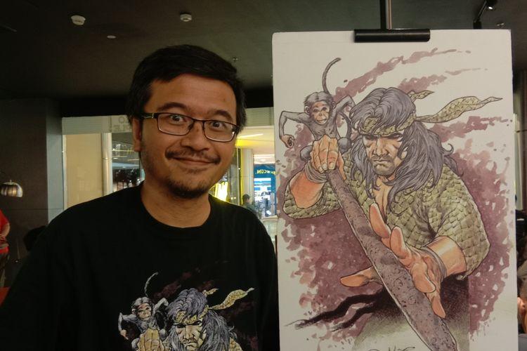 Manager Production BumiLangit Comics Imansyah Lubis menghadiri sebuah acara di Cozyfield Gramedia Pondok Indah Mall 1, Jakarta Selatan, Rabu (23/1/2019).