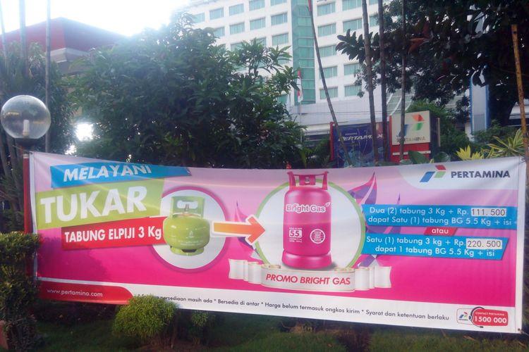 SPBU COCO Yos Sudarso membuka layanan program promo trade in atau penukaran LPG 3 kilogram dengan Bright Gas 5,5 kilogram untuk masyarakat Sumatera Utara, Rabu (22/11/2017)