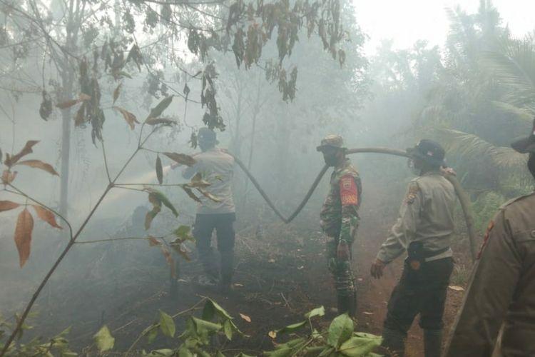 Petugas gabungan memadamkan titik api karhutla di Kecamatan Kuala Kampar, Kabupaten Pelalawan, Riau, beberapa waktu lalu.